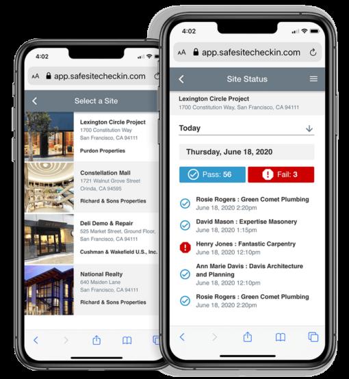 Safe Site Check In App in Smartphone